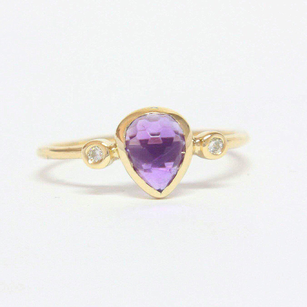 Amethyst Pear Shape and Diamond Ring 14k Gold - Manari Design