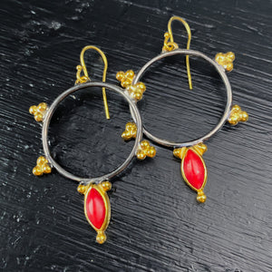 Red Coral Black & Gold Hoop Earrings Sterling Silver - MANARI.eu