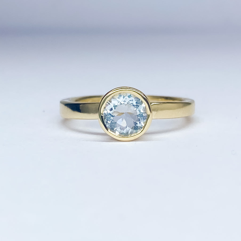 Aquamarine Yellow Gold Ring - Manari Design