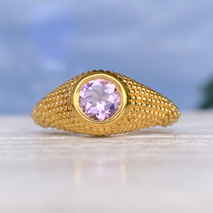 Nubia Round Lavender Amethyst Yellow Gold Ring Size 7US