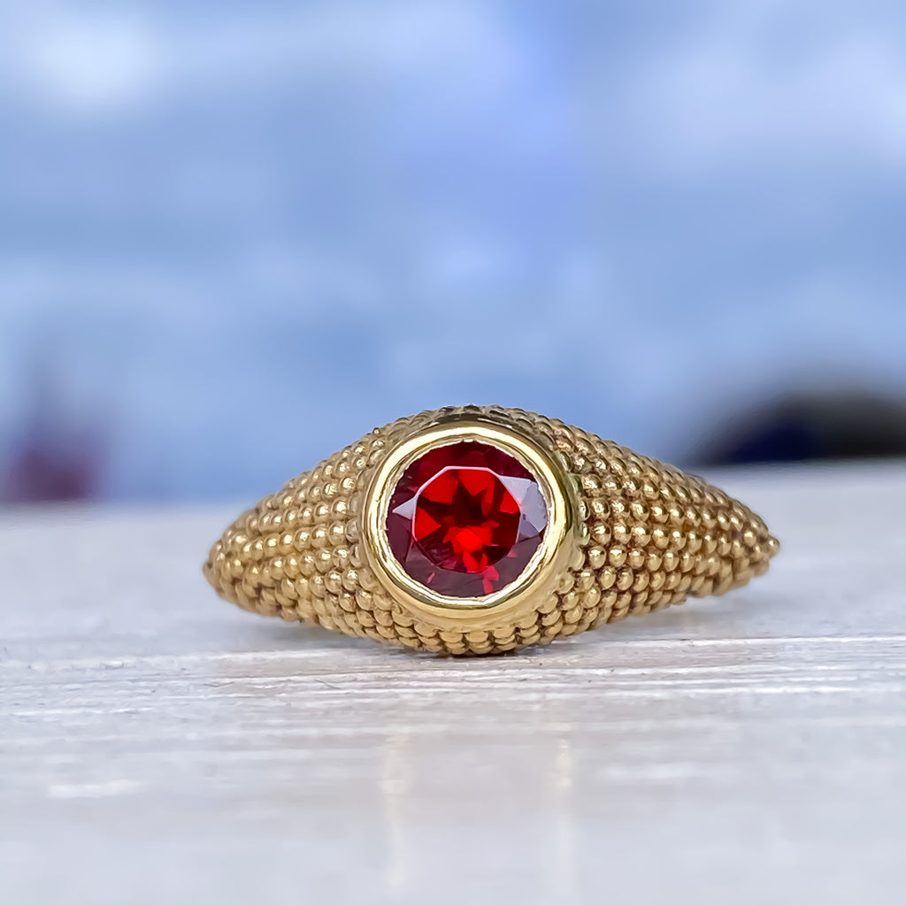 Nubia Round Red Garnet Yellow Gold Ring Size 7US