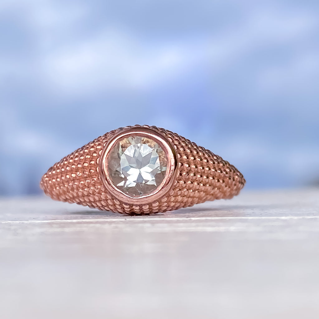 Nubia Round Green Amethyst Rose Gold Ring Size 7US