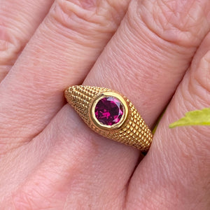 Nubia Round Rhodolite Yellow Gold Ring Size 7.25US