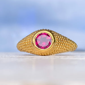 Nubia Round Rhodolite Yellow Gold Ring Size 7.25US - MANARI.eu