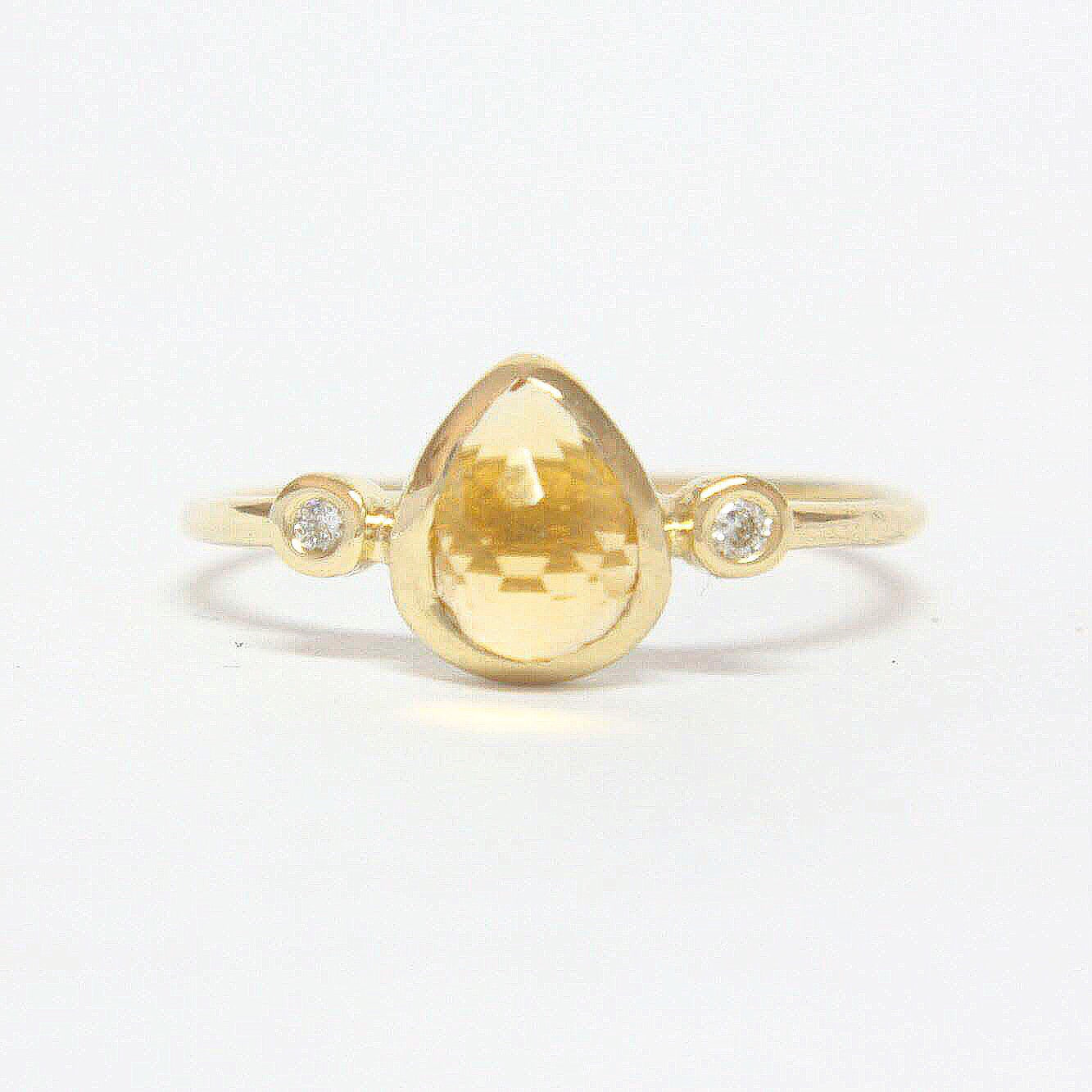 Pear Citrine and Diamond Ring 14k Gold - Manari Design