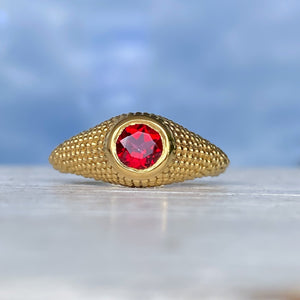 Nubia Round Red Topaz Yellow Gold Ring Size 7.5US