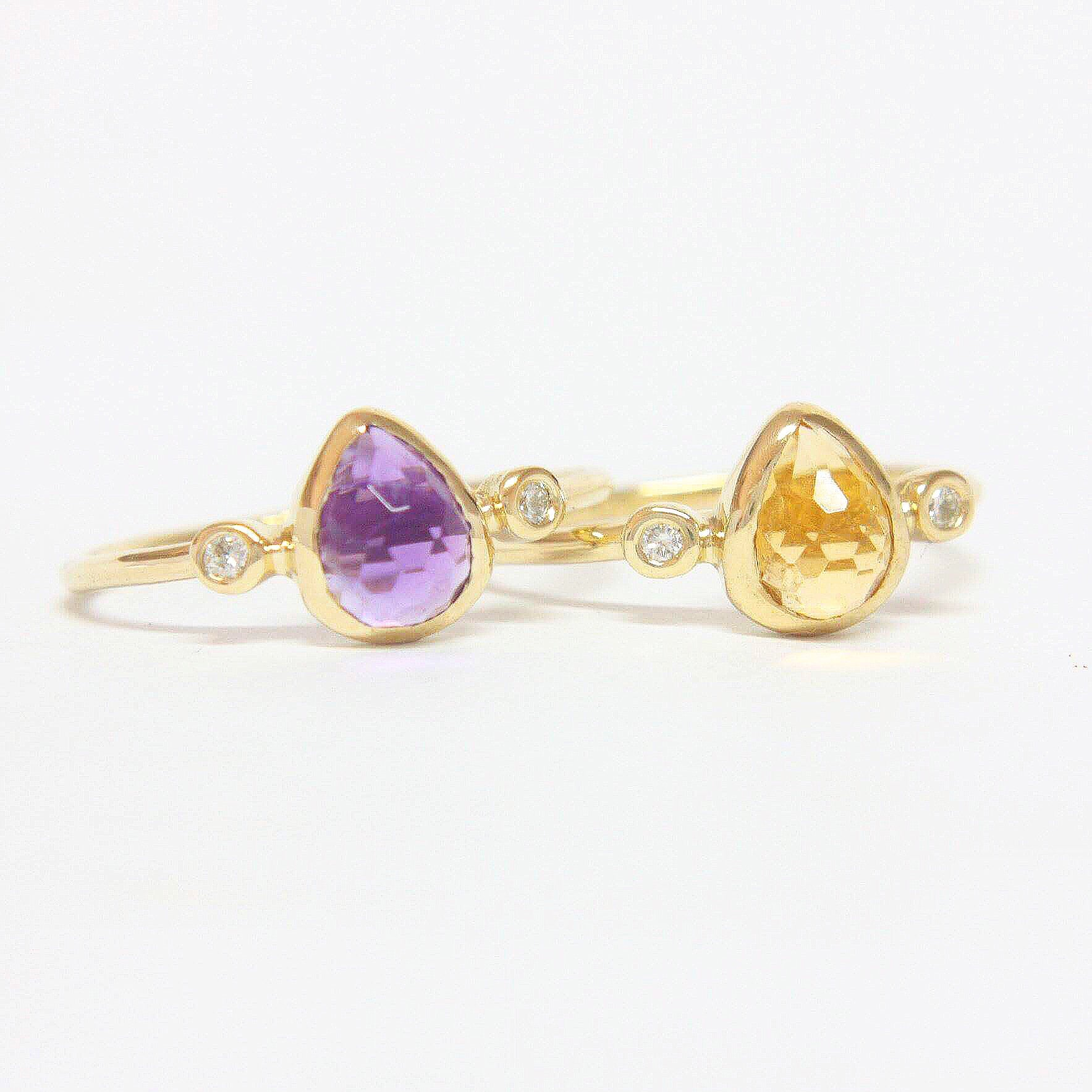 Pear Citrine and Diamond Ring 14k Gold