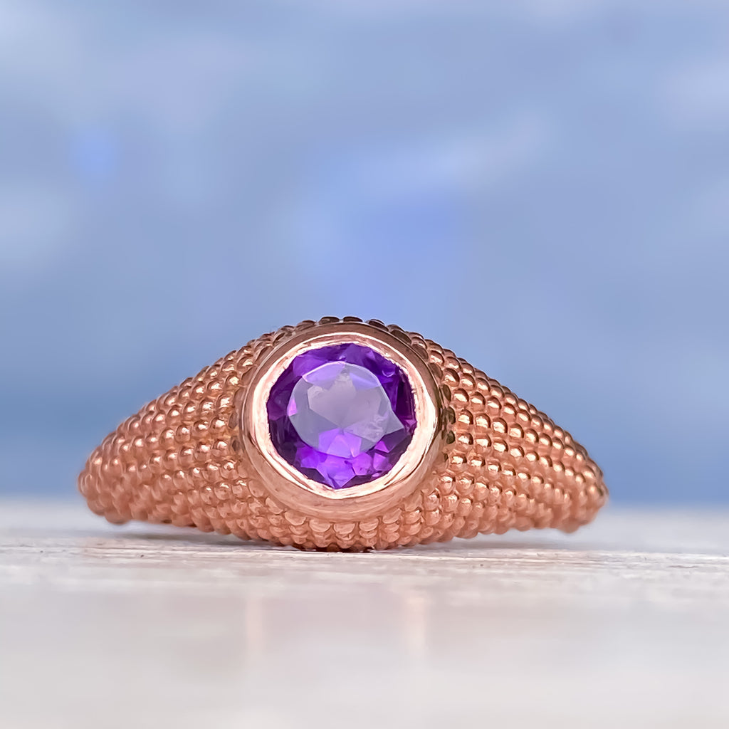 Nubia Round Purple Amethyst Rose Gold Ring Size 7.25US