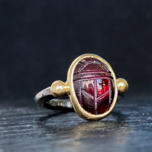Scarab Red Garnet 14k Yellow Gold & Sterling Silver Ring - Manari.eu