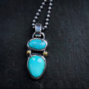 Double Turquoise Pendant Sterling Silver - Manari.eu