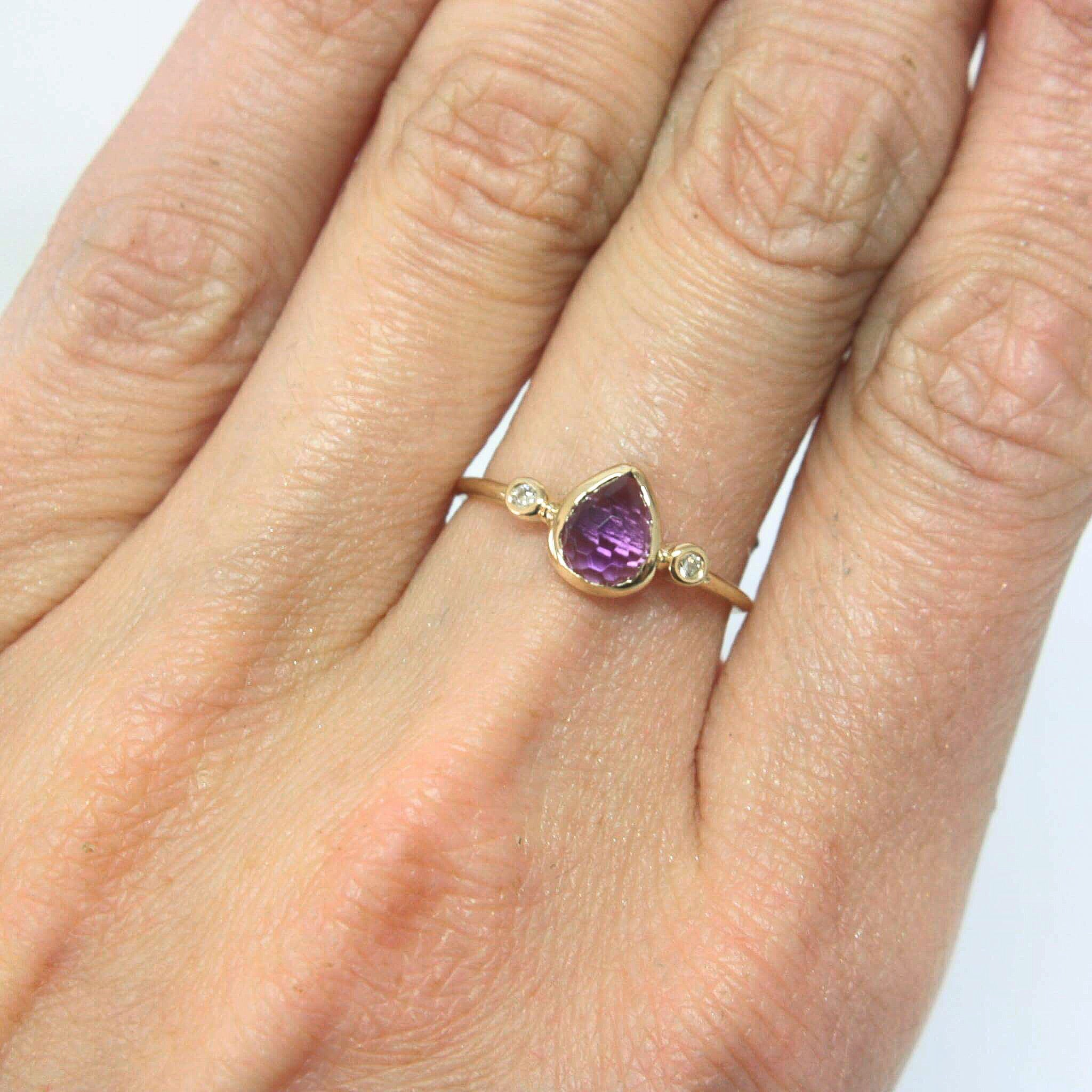 Amethyst Pear Shape and Diamond Ring 14k Gold - MANARI.eu