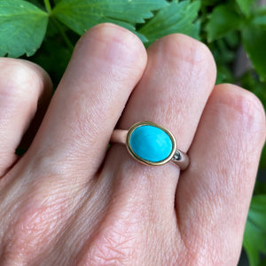 Sleeping Beauty Turquoise 14k Gold & Sterling Silver Ring Size 6.75-7.75US - Manari.eu