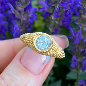 Nubia Round Blue Topaz Yellow Gold Ring Size 7.5US