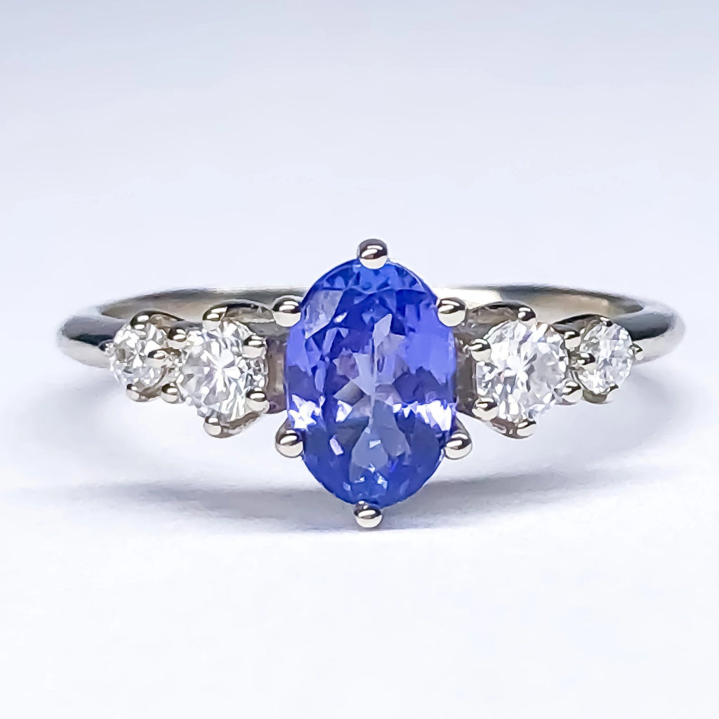 Betty Oval Tanzanite Diamond/Mossanite Ring - Manari Design