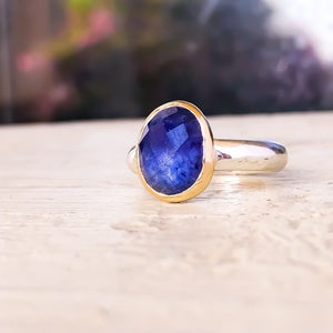 Blue Sapphire 14k Gold & Sterling Silver Ring Size 6.5US - Manari Design