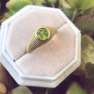 Nubia Round Peridot Yellow Gold Ring Size 7US - Manari Design