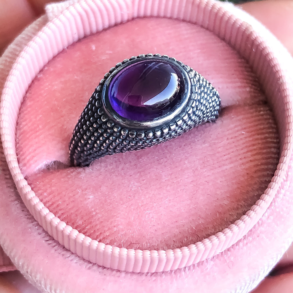 Nubia Oval Amethyst Cabochon Sterling Silver Ring Size 7US - Manari Design
