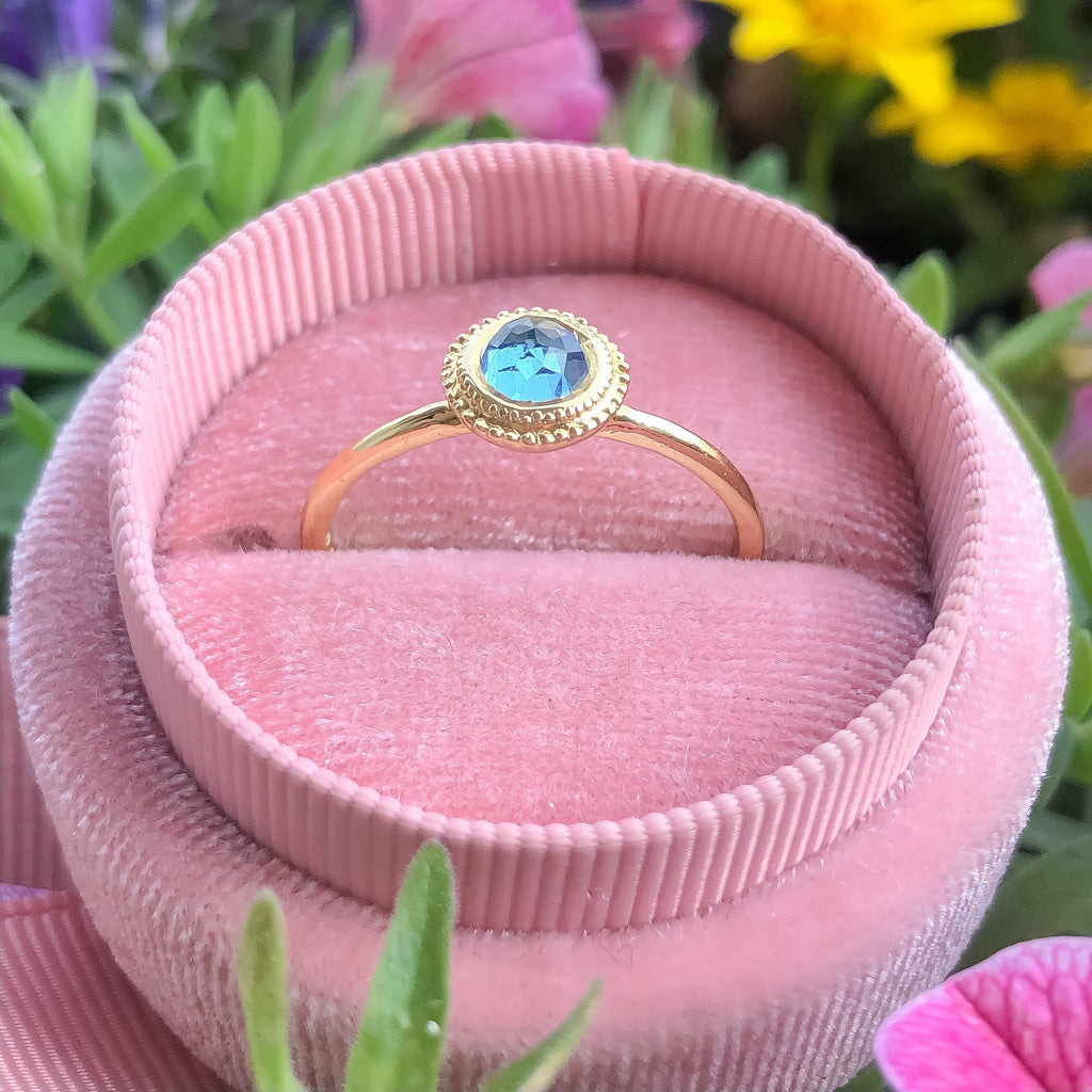 Dalia Blue Topaz Rose Cut Ring - Manari Design