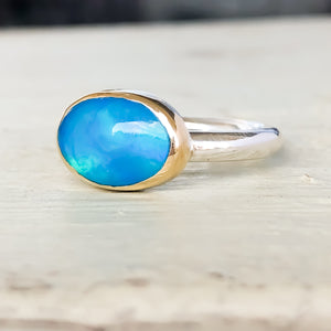 Blue Opal 14k Gold & Sterling Silver Ring Size 6US - MANARI.eu