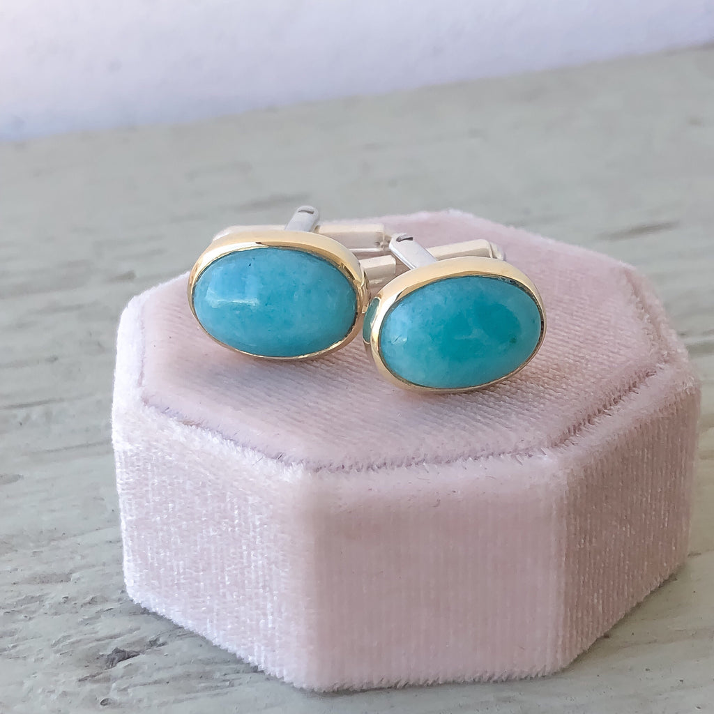 Gold & Sterling Silver Cufflinks with Amazonite - Manari.eu
