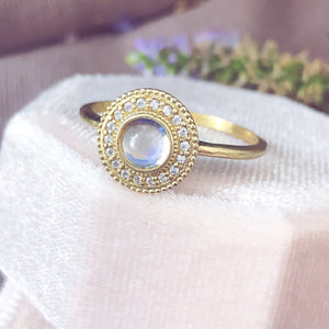 Malika Moonstone Cabochon Diamond Ring - Manari Design