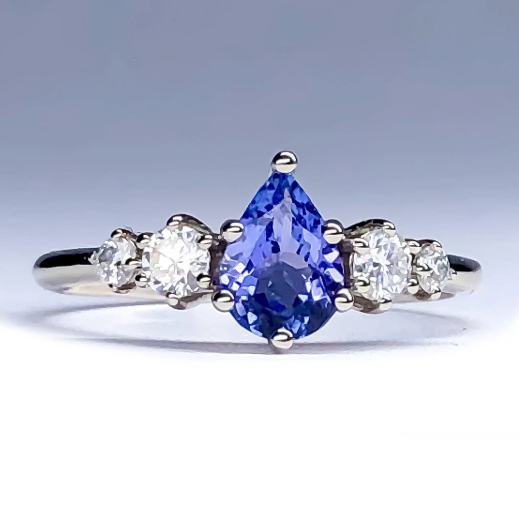 Betty Pear Tanzanite Diamond/Mossanite Ring