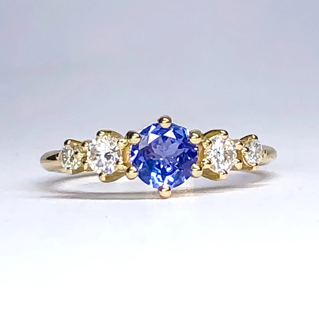 Betty Tanzanite Diamond/Mossanite Ring - Manari Design