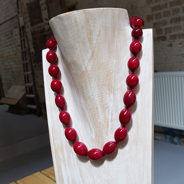 Dark Red Olive Necklace