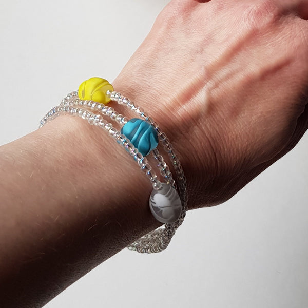 Frosted Lemon Memory Wire Bracelet