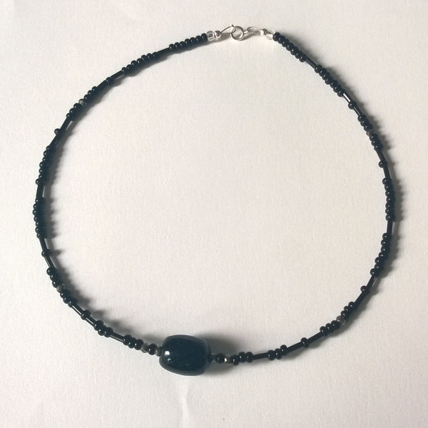 Black with Pyrite Rondels Necklace