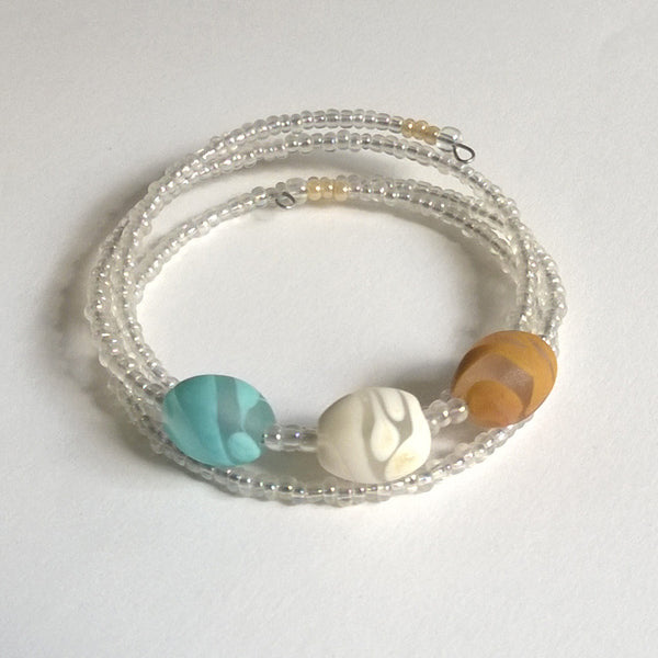 Frosted Turquoise Ivory Mustard Bracelet
