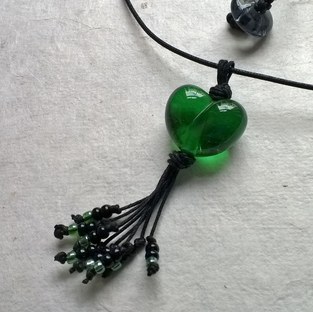 Clear Green Heart with Tassel