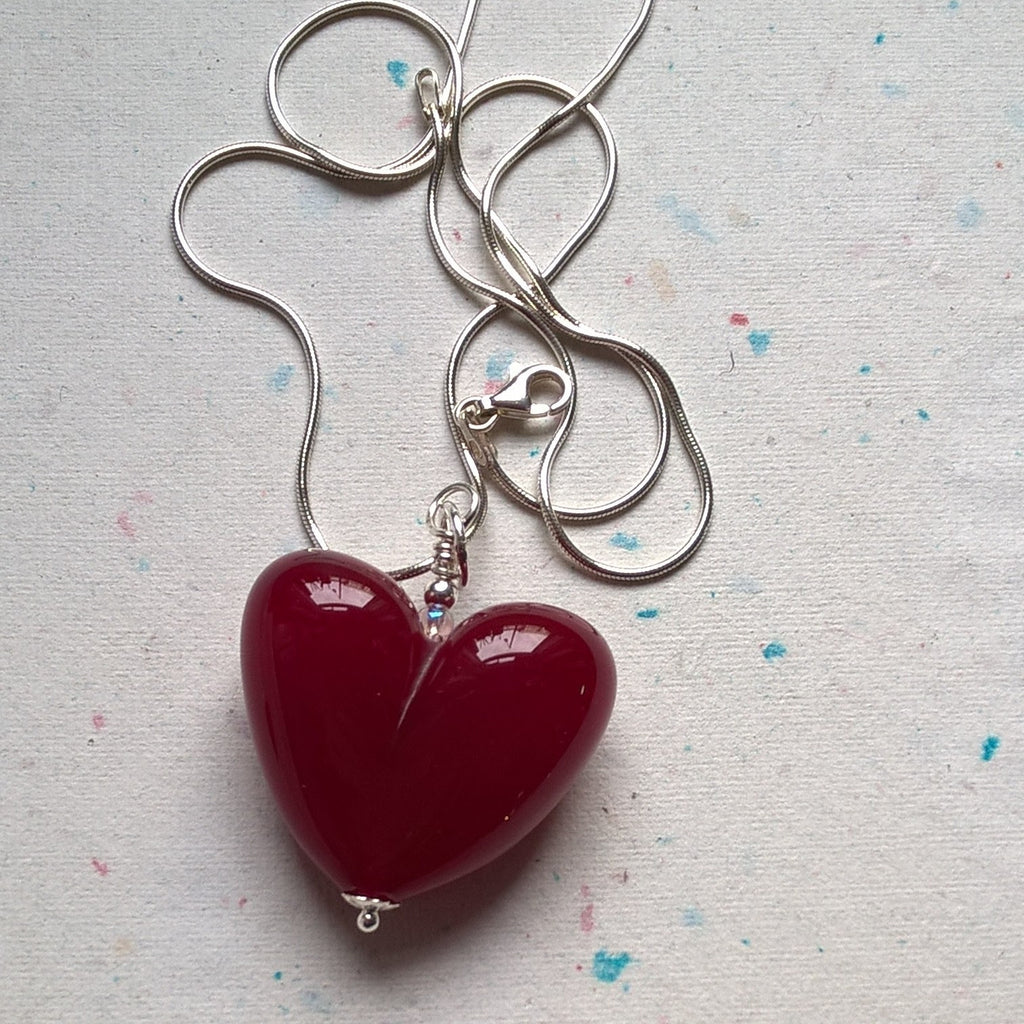 Dark Red Heart with Silver