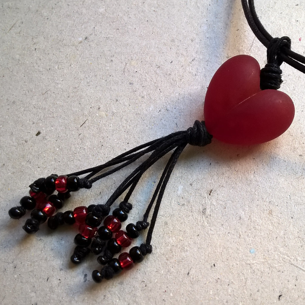 Deep Pink Etched Heart with Tassel