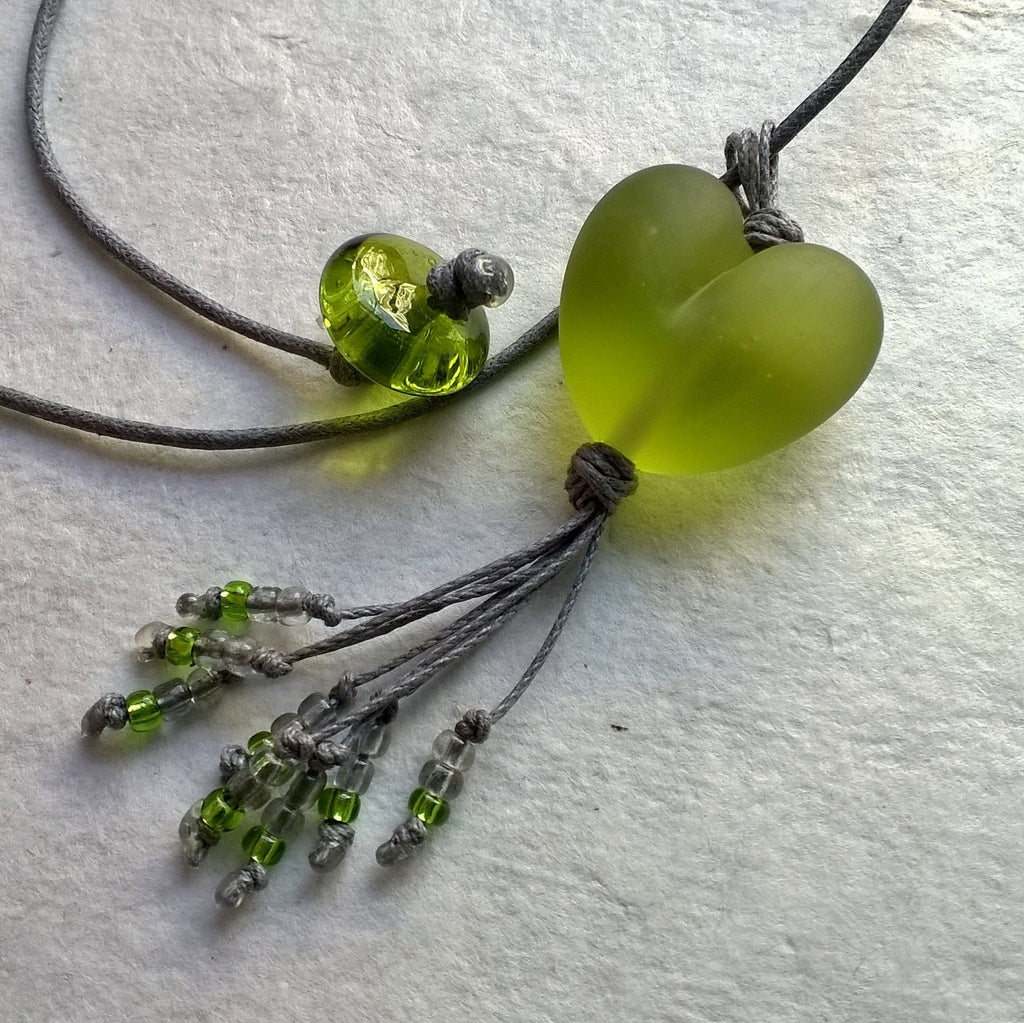 Etched Green Heart with Tassel
