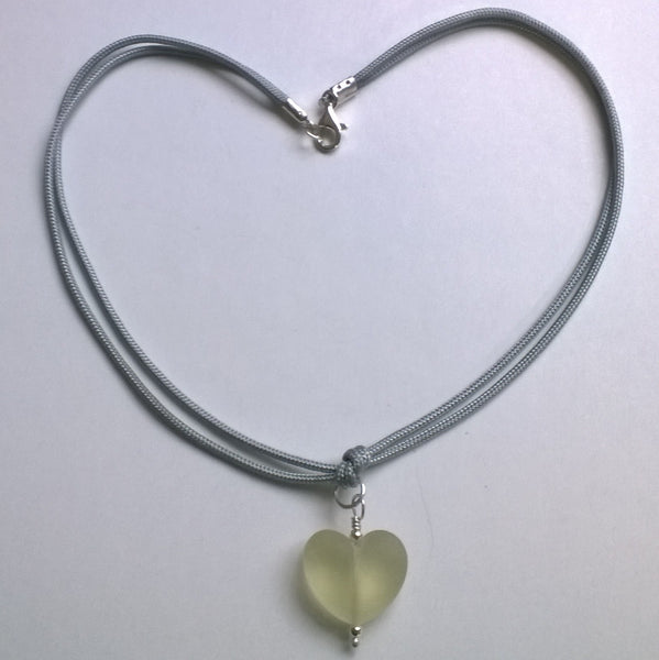 Etched Prosecco Heart on Grey Cord