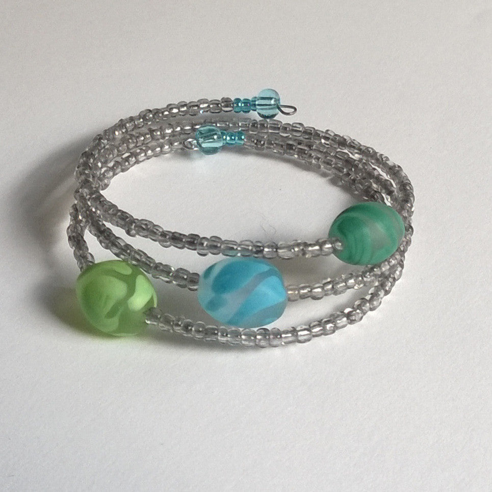 Frosted Pea Green, Turquoise Blue Bracelet