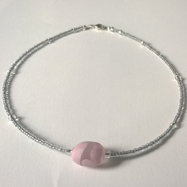 Frosted Pink and Silver Necklace
