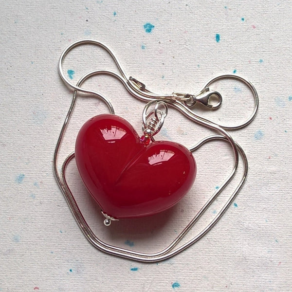 Red Heart with Silver