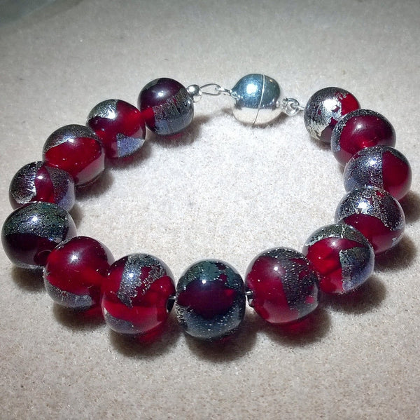 Burnt Silver on Red Bracelet