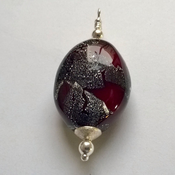 Burnt Silver on Red Pendant