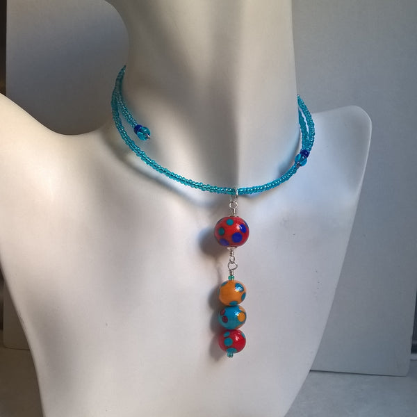 Orange and yellow dangling choker