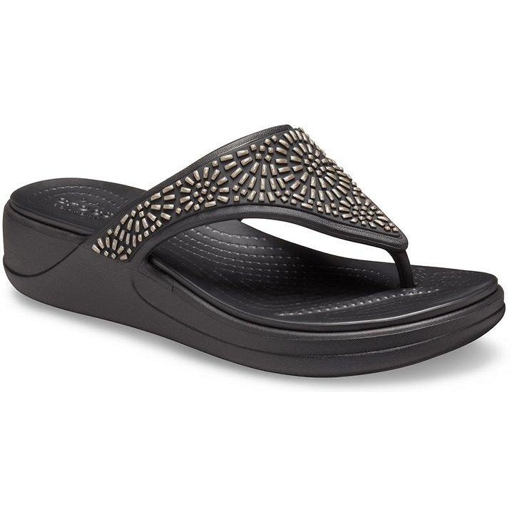 Crocs Monterey Diamante Wedge Flip Flops