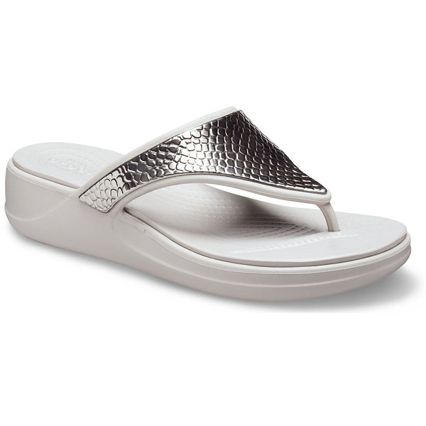 Crocs Monterey Metallic Wedge Flip Flops