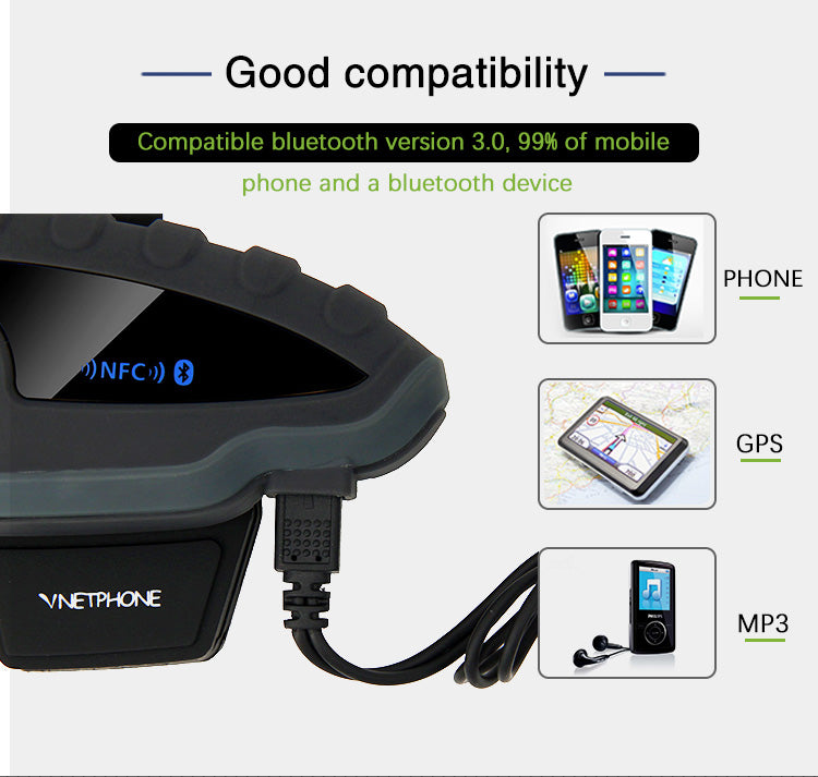 Vnetphone V8 1200M Bluetooth Intercom Motorcycle Helmet Interphone Headset NFC Remote Control Full Duplex plus FM
