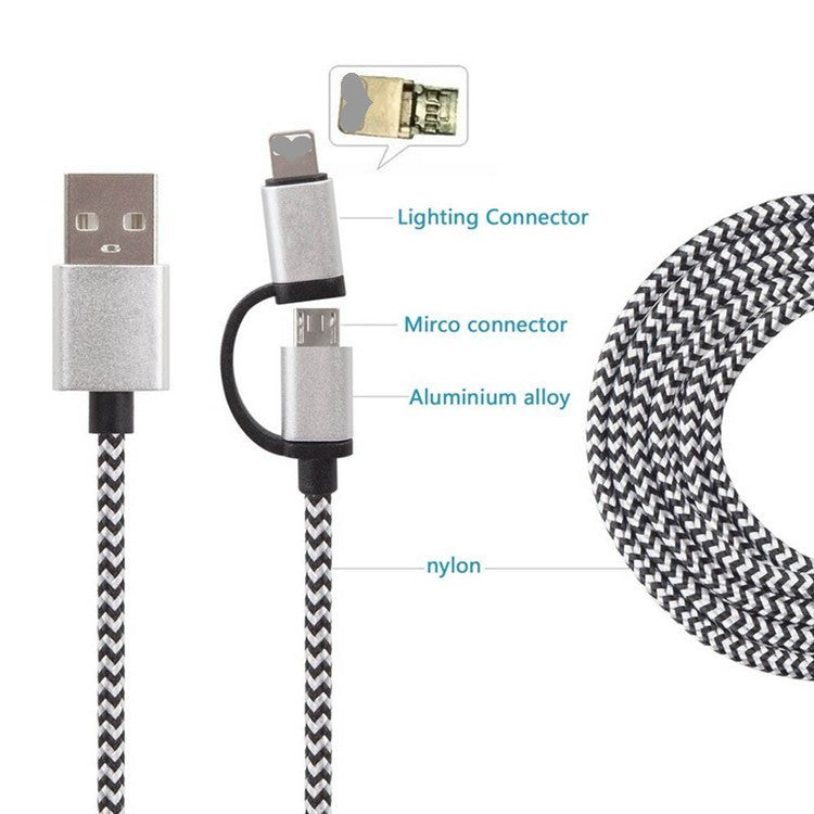 Super Fast 2-in-1 Braided MicroUSB Lightning Cable for Apple & Android Devices Nylon Metal Charging Cord