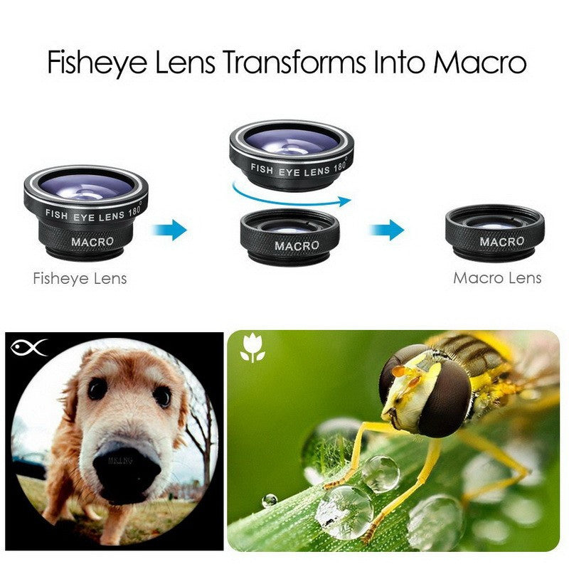 3-in-1 Wide Angle Macro Fisheye Universal Smartphone Camera Lenses