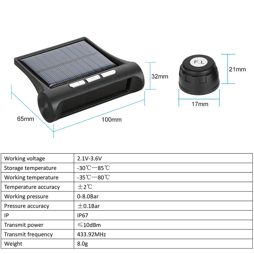 Gadget World Wireless Solar Car Tire Pressure Monitoring System
