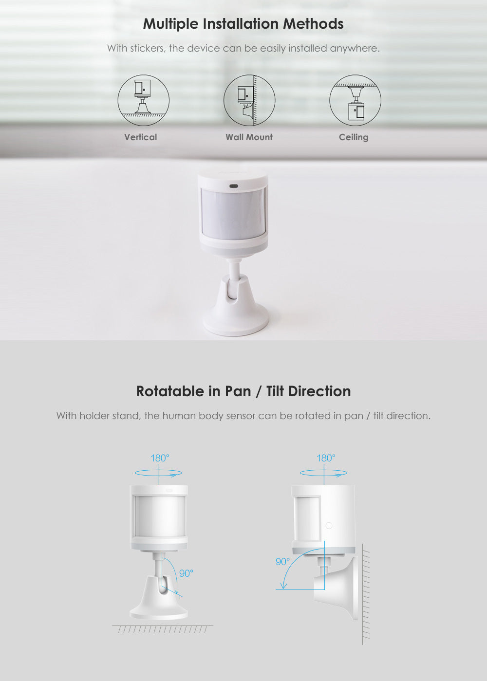 Xiaomi Aqara Smart Home Human Body Sensor Security Device with Holder Stand Movement Sense Light Intensity Detection