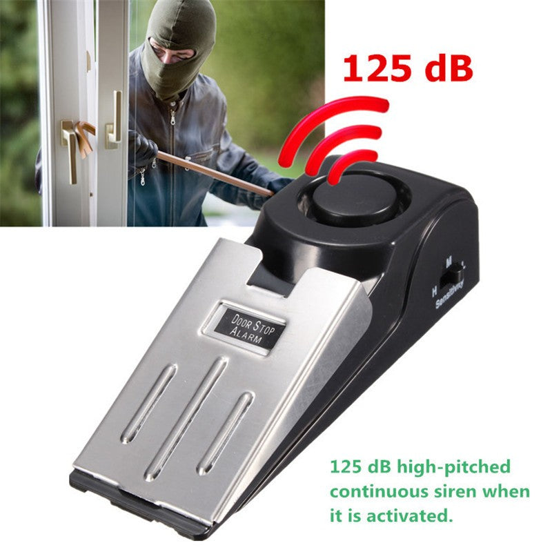 Mini Wireless Vibration Triggered Door Stop Alarm Home Wedge Shaped Stopper Alert Security System Block Blocking System Black